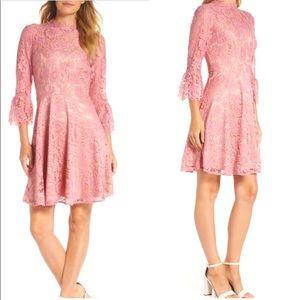 Eliza J Bell Sleeve Lace Fit & Flare Dress